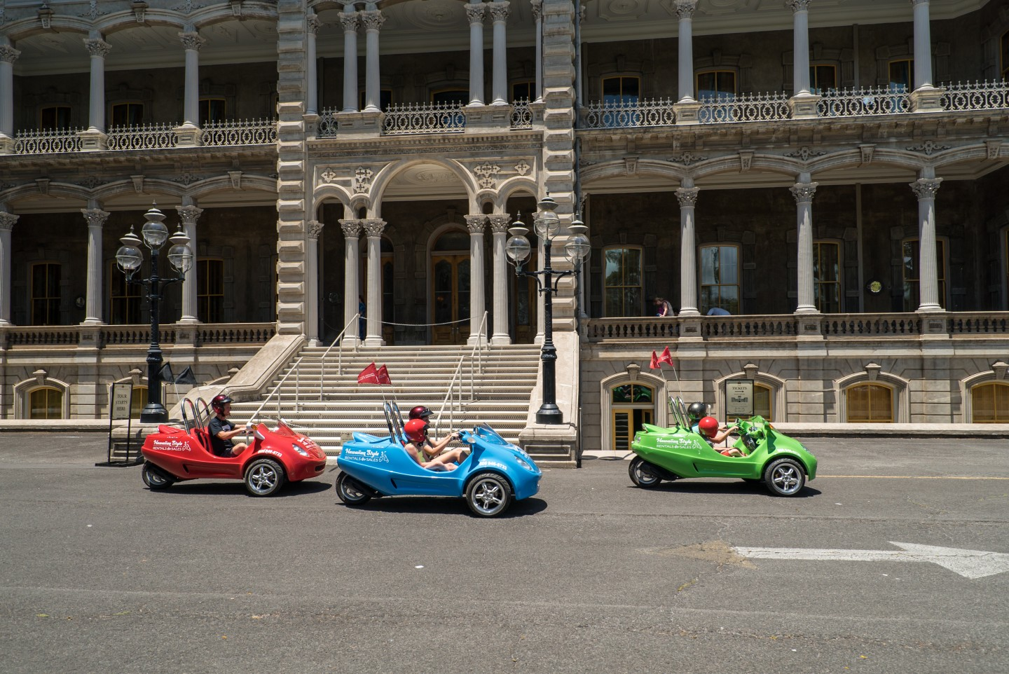 Scoot Coupes at Iolani Palace - Hawaii Moped Rentals